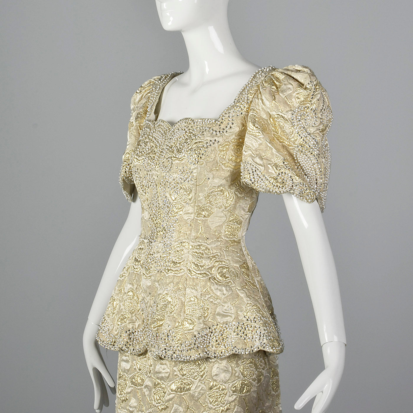 1980s Rose Taft Metallic Brocade Wedding Dress