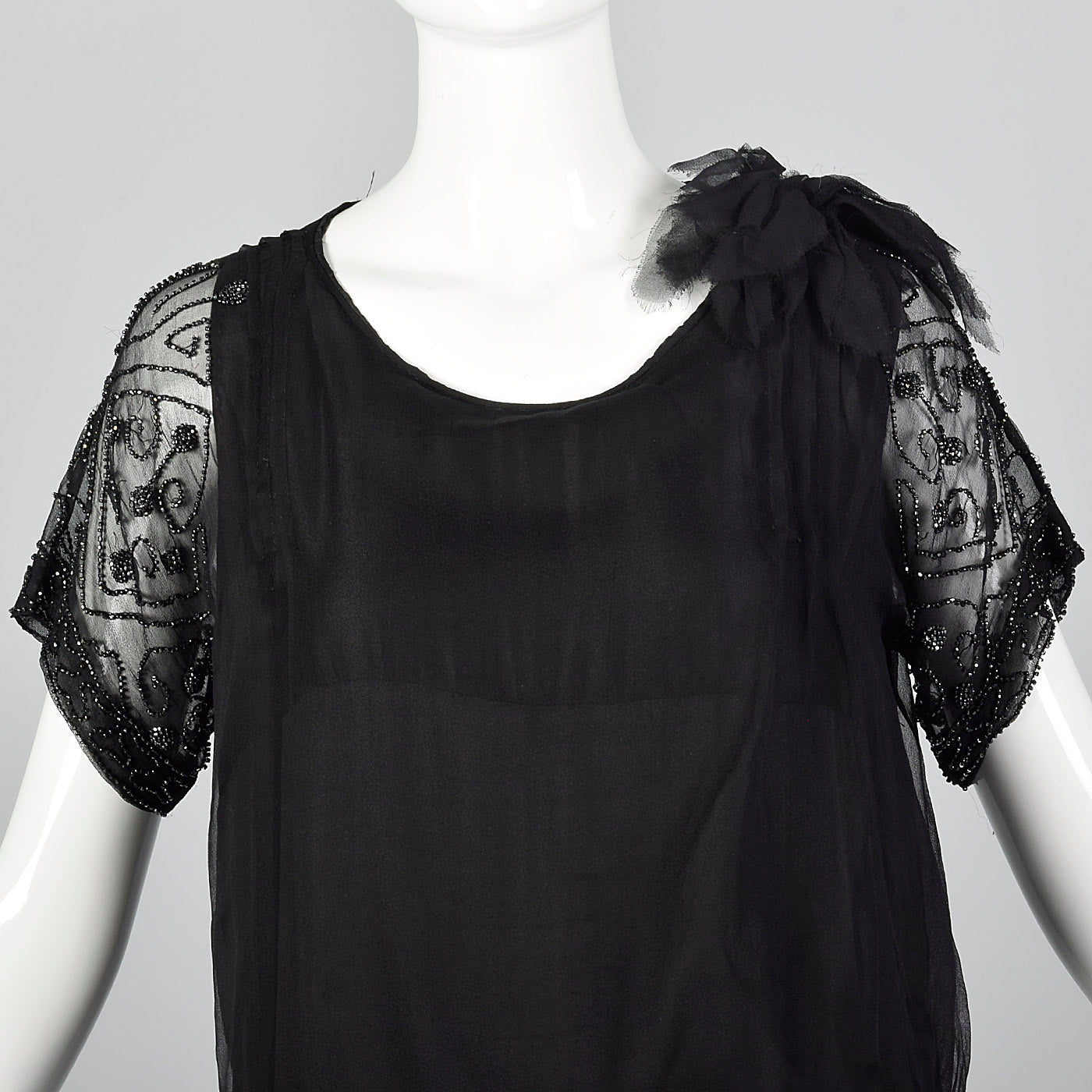 1920s Black Silk Chiffon Dress with Steel Beads