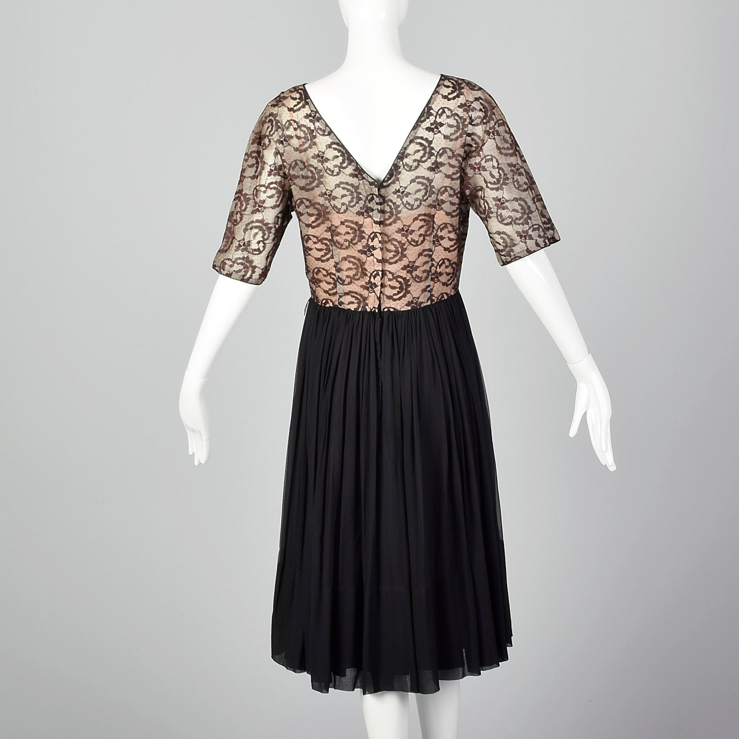 1950s Illusion Bodice Dress with Sheer Lace