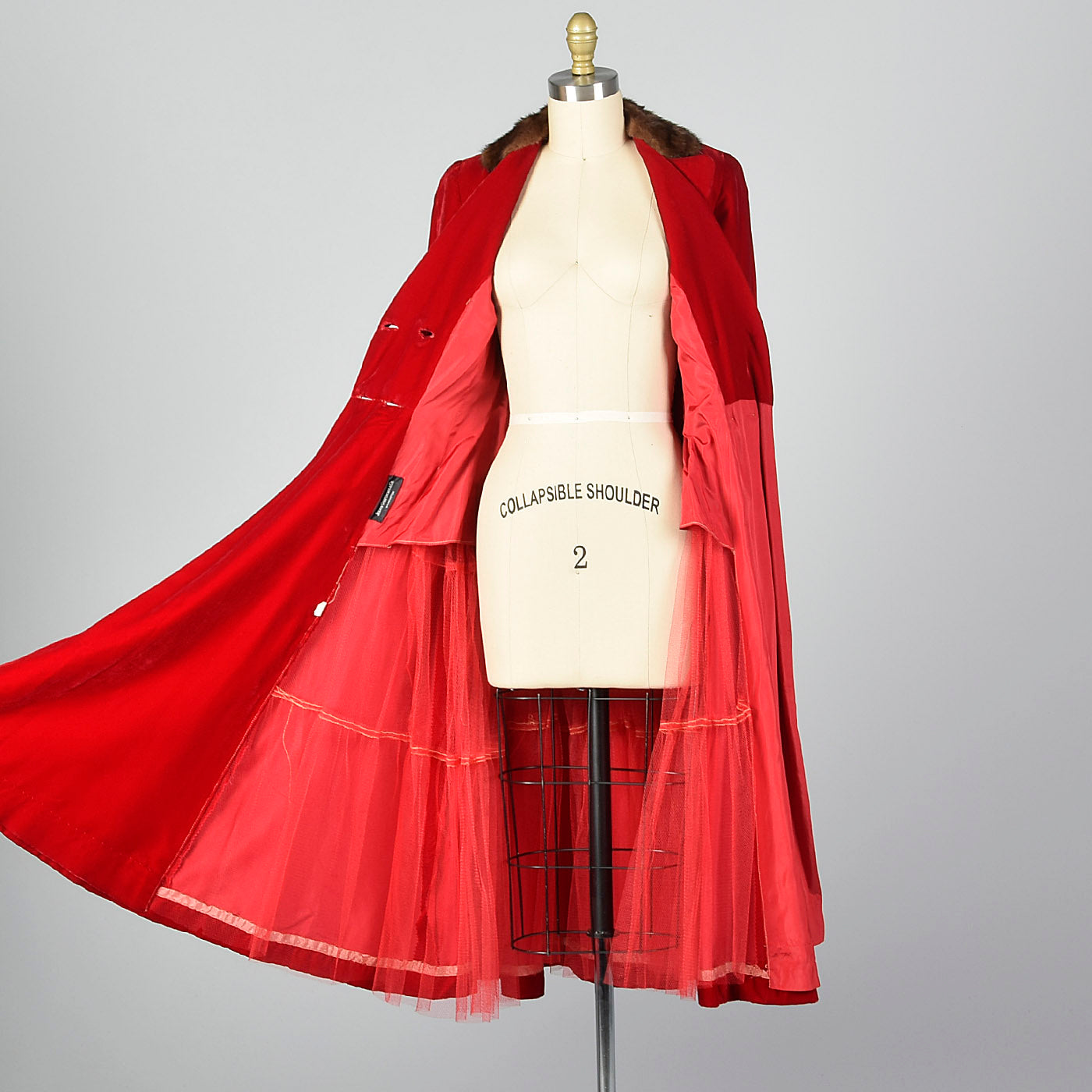 1950s Red Velvet Coat Dress with Mink Collar