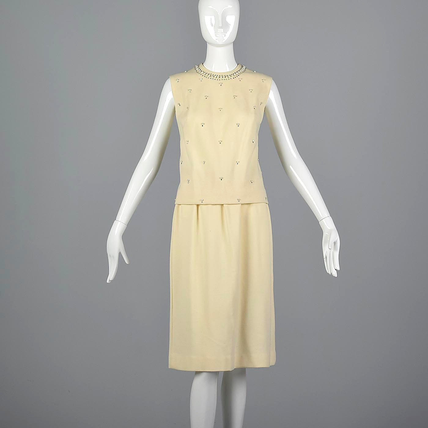 1960s Two Piece Cream Knit Set with Rhinestone Details