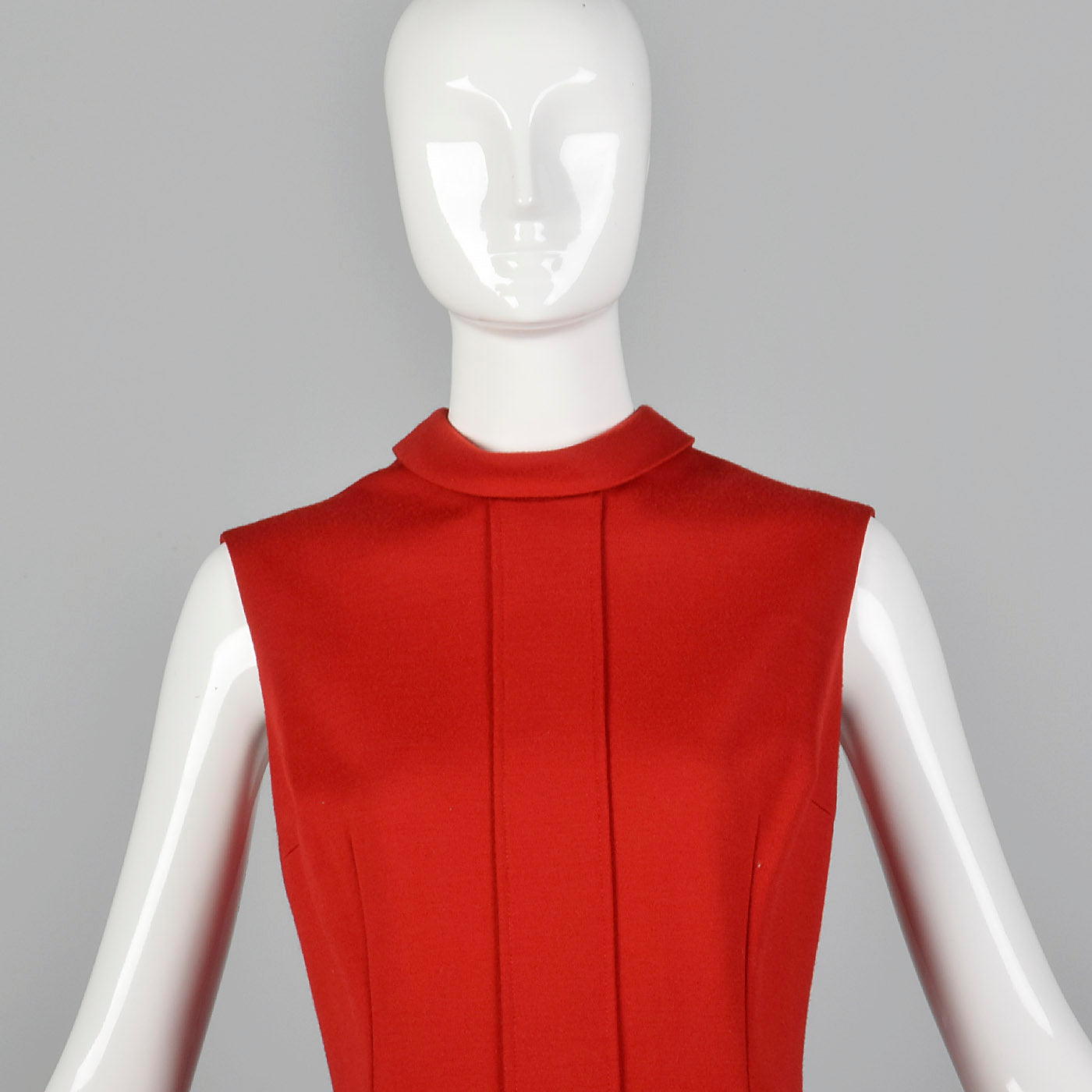 1970s Red Shift Dress with Drop Waist
