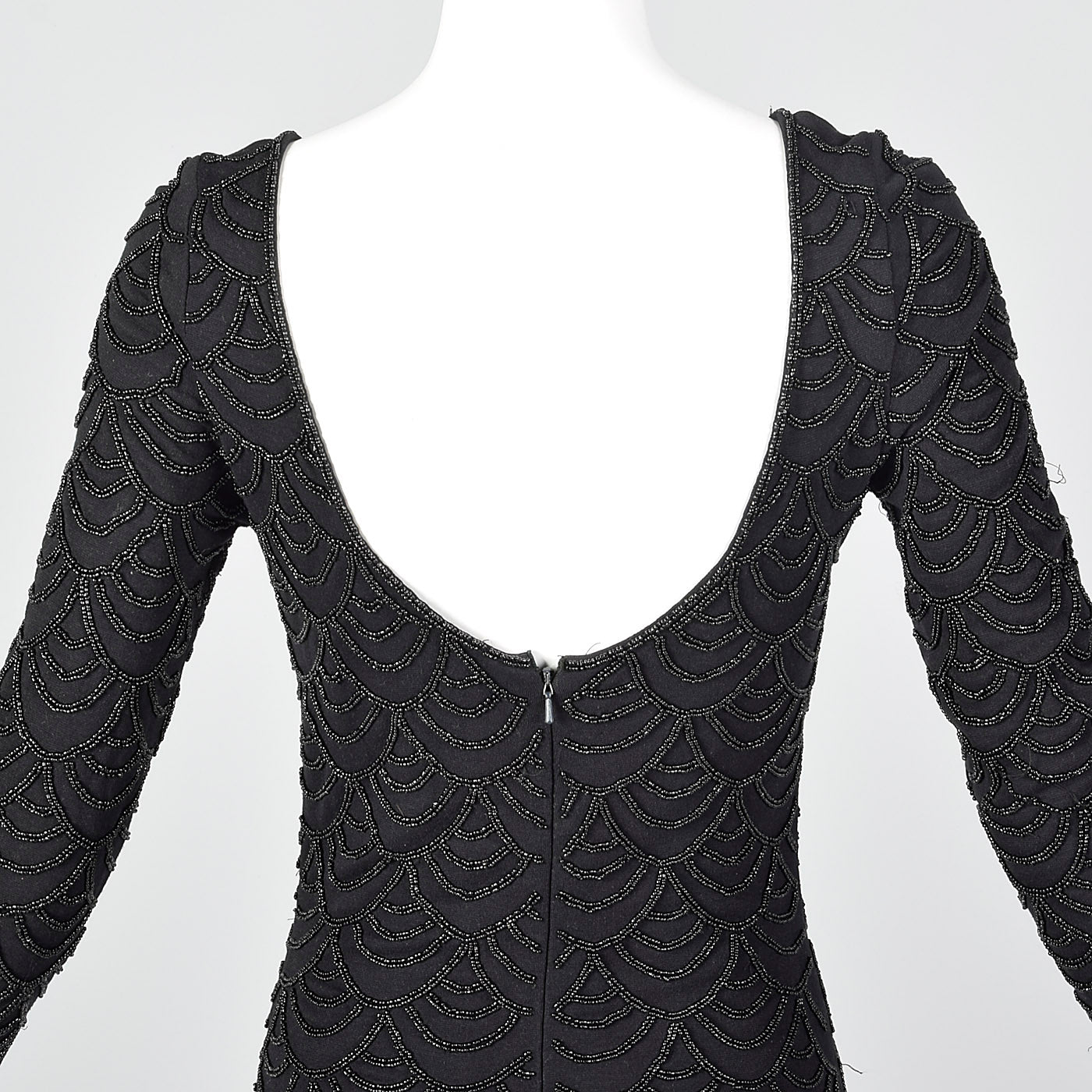 1990s Carmen Marc Valvo Black Knit Dress with Beading