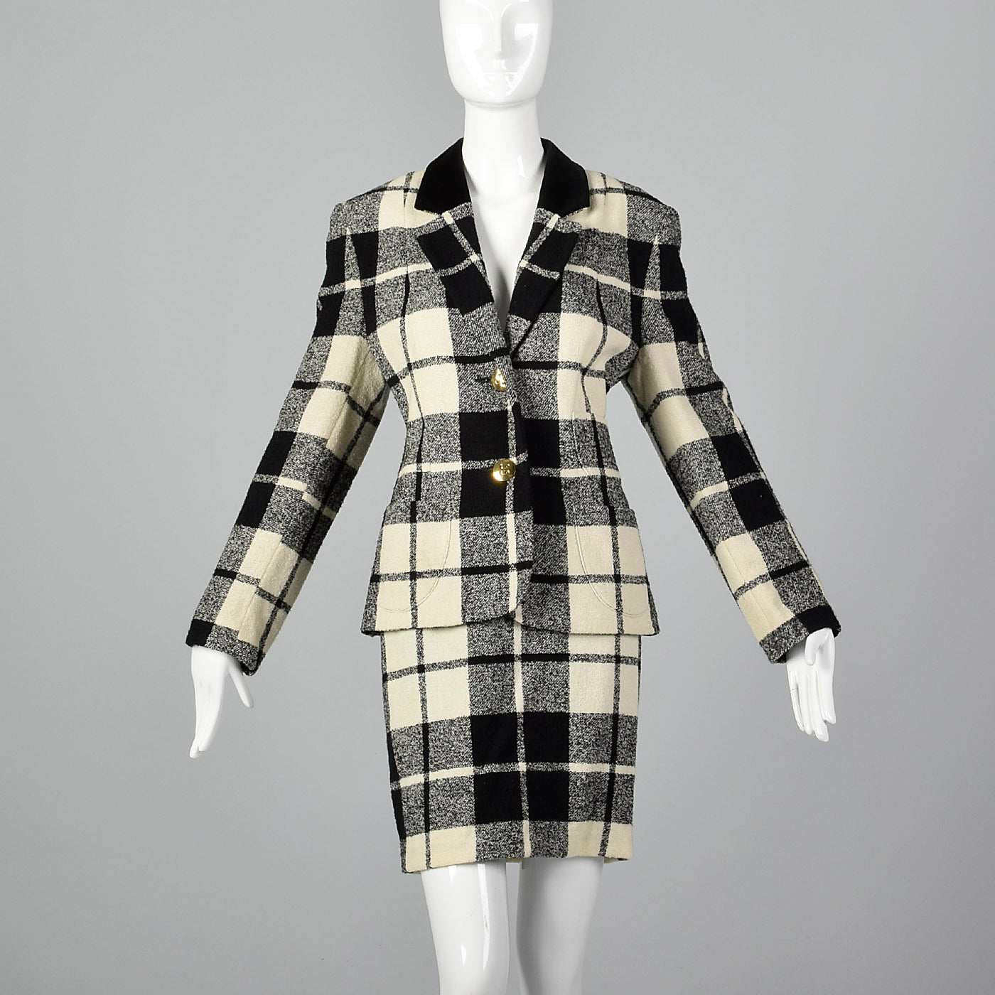 1980s Louis Feraud Wool Plaid Skirt Suit