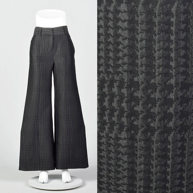 1990s Giorgio Armani Wide Leg Pants in Black on Black Houndstooth