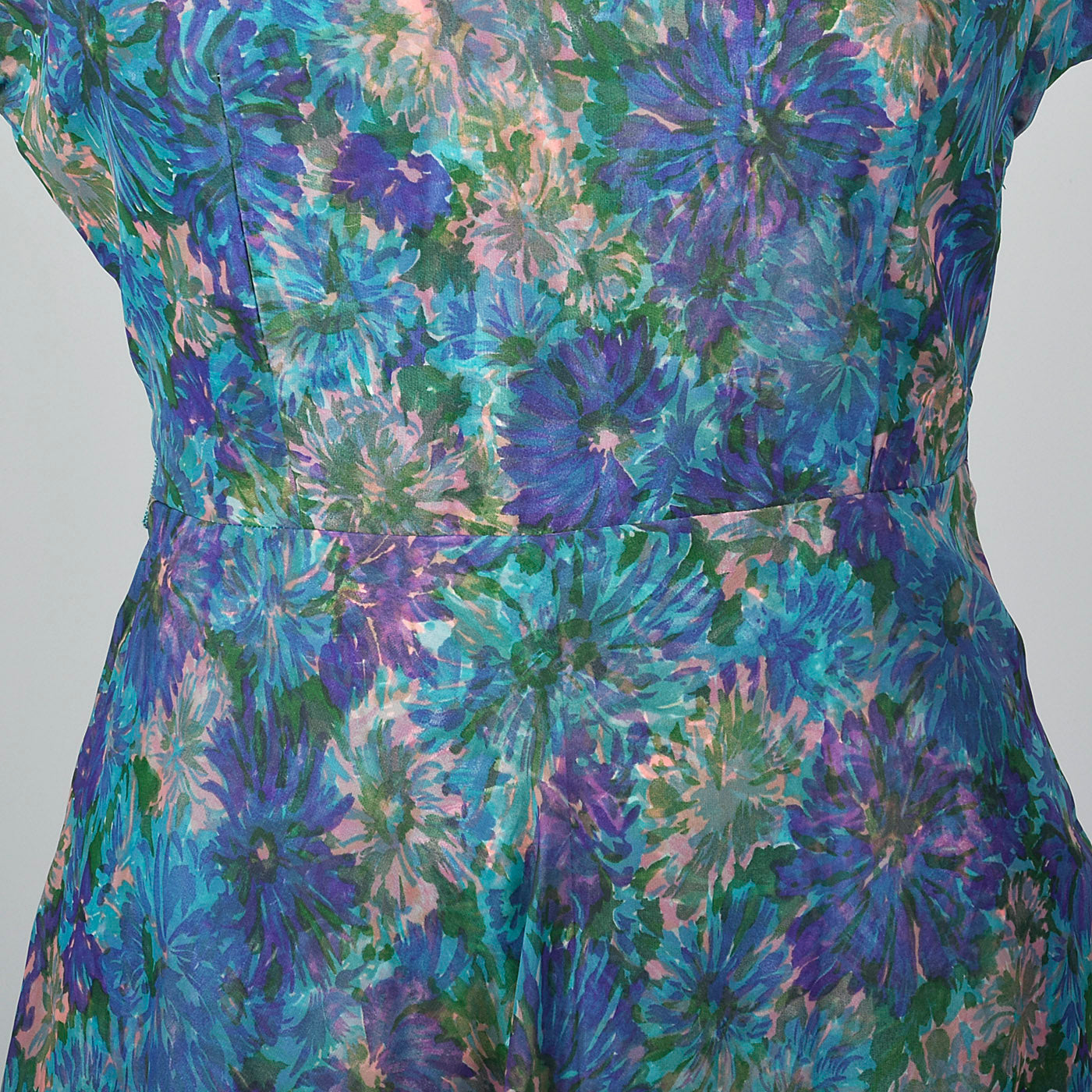 1950s Blue Floral Print Dress with Chiffon Overlay