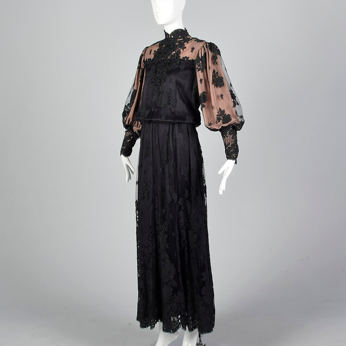1970s Black Lace Overlay Dress with Sequin Bust