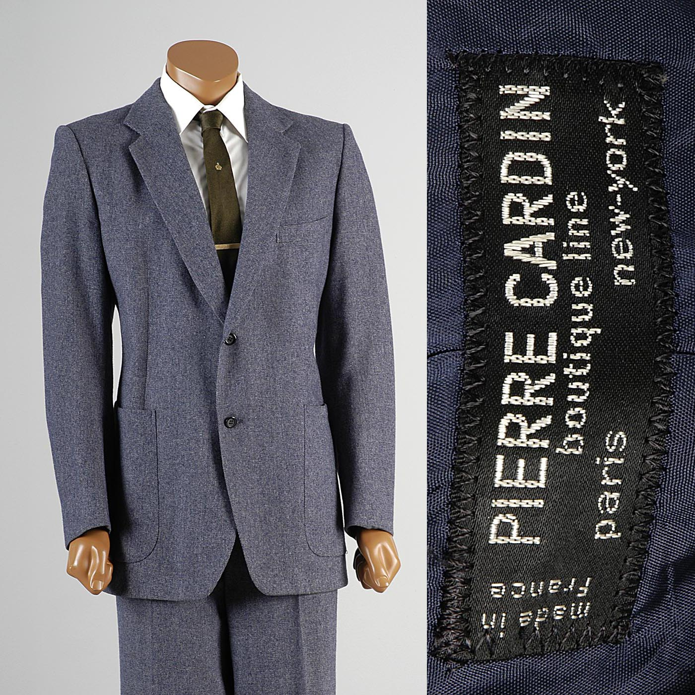 1970s Men's Pierre Cardin Black Label Blue & White Wool Tweed Suit