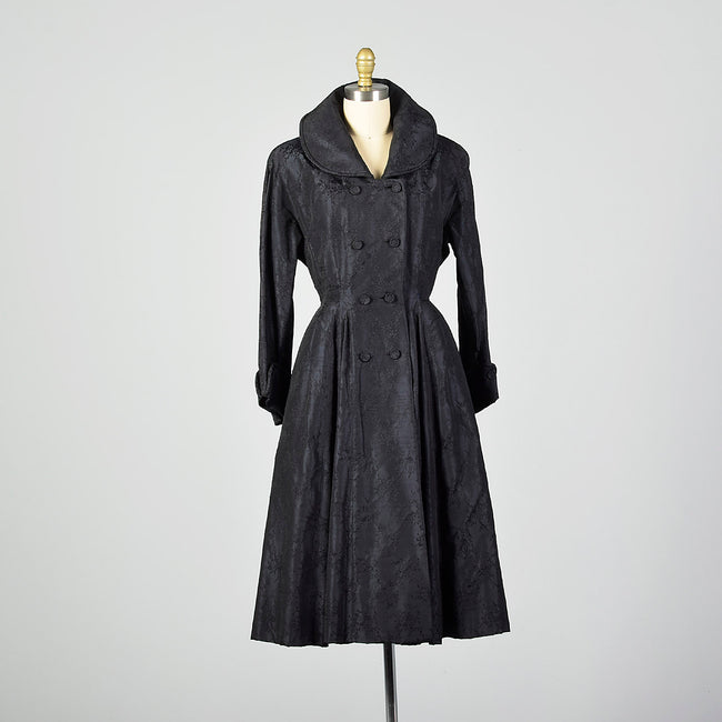 XS 1950s Via Veneto Couture Boutique Black Silk Princess Coat Made In Italy