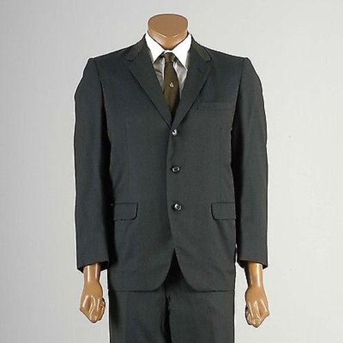 1950s Mens Green Sharkskin Two Piece Suit