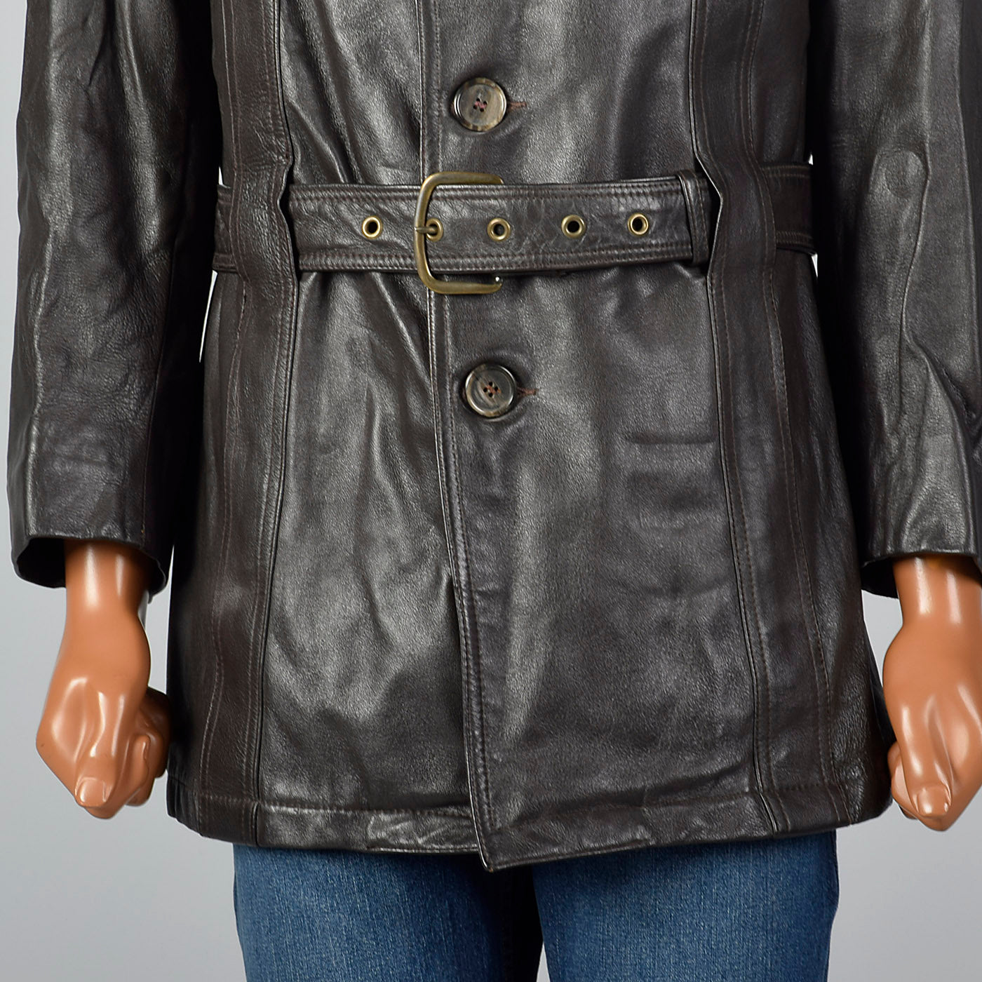 1960s Mens Belted Leather Norfolk Jacket