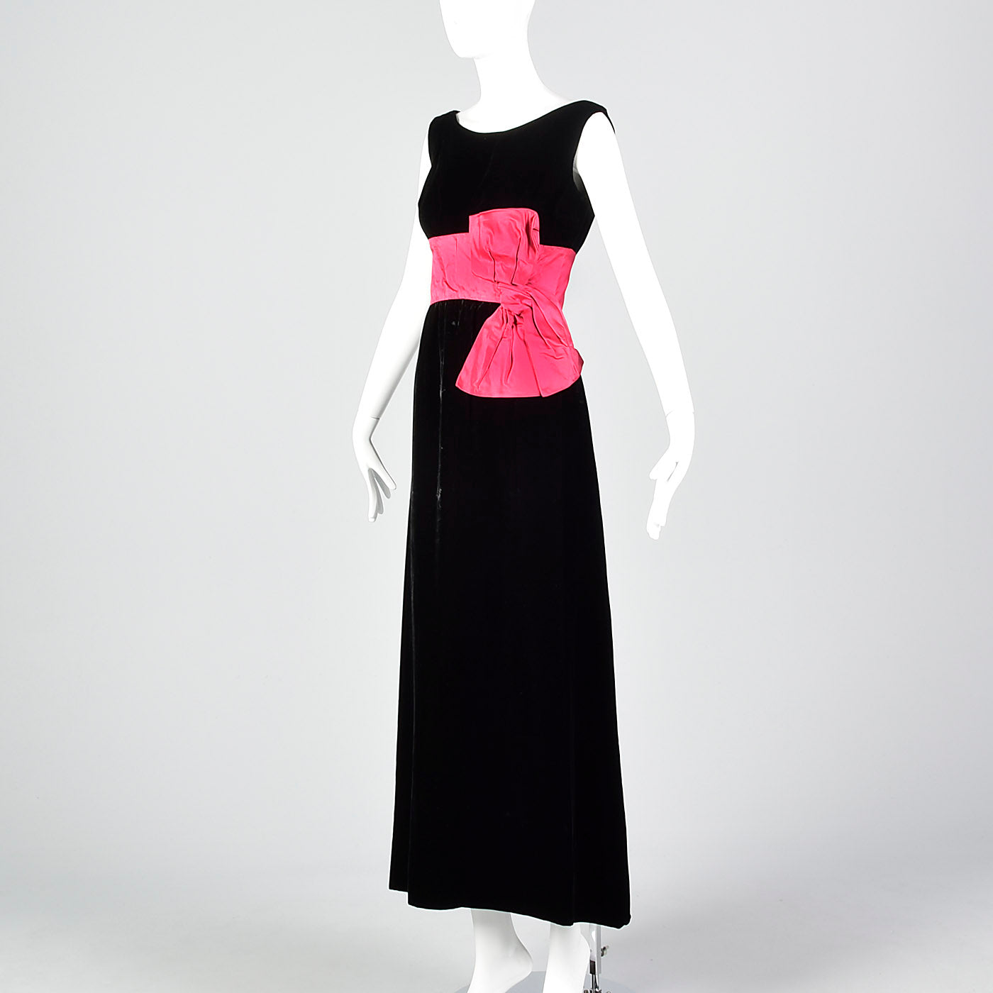 1960s Black Velvet Dress with Pink Cummerbund Waist
