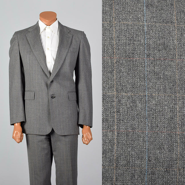 Medium 1970s Gray Windowpane Plaid Suit