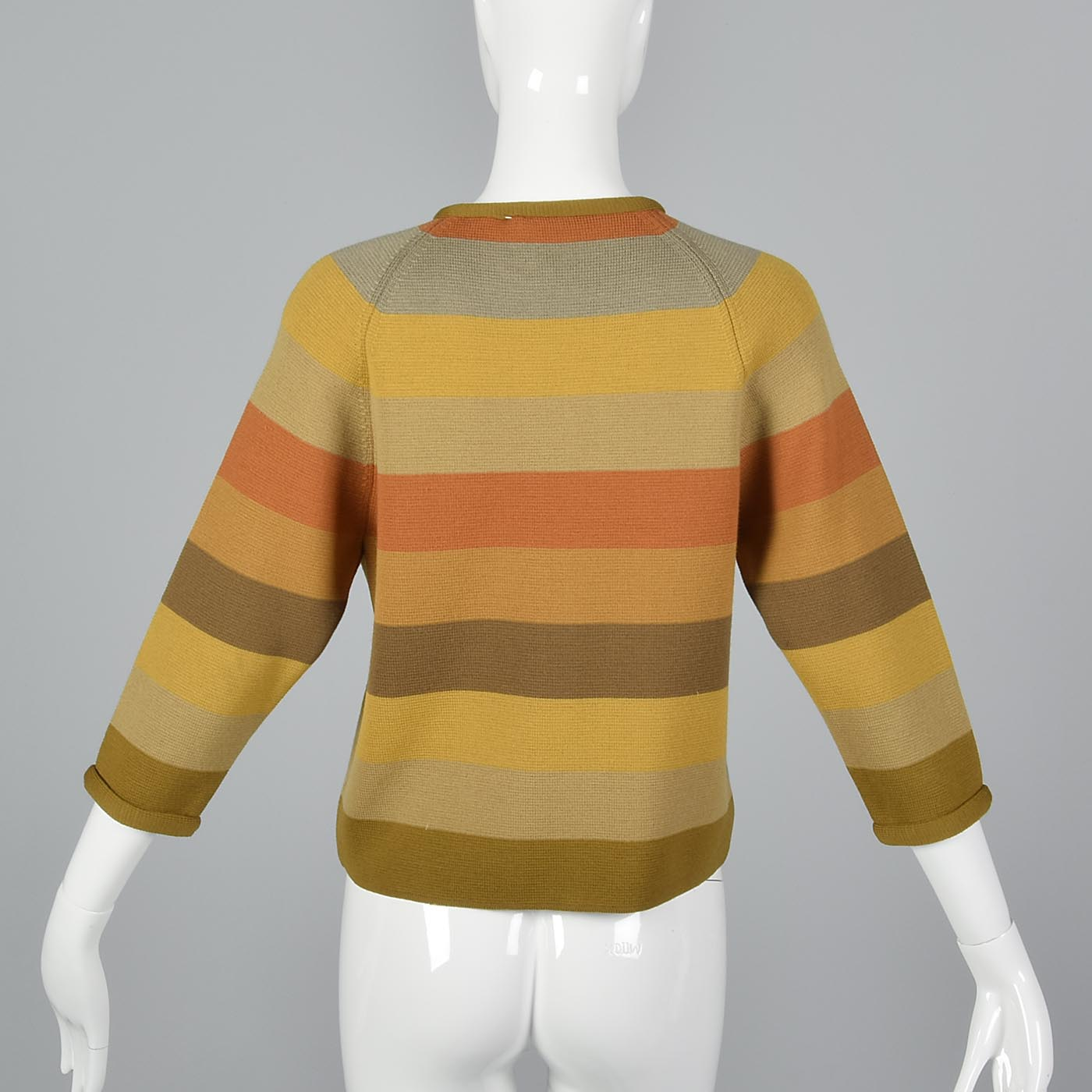 1960s Cropped Sweater with Gold and Orange Stripes