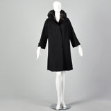 Large 1950s Black Mink Fur Collar Coat