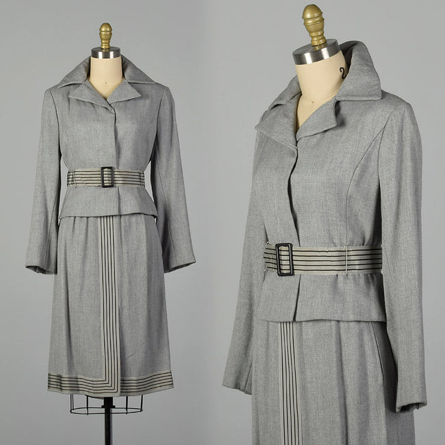Small 1950s Gray Skirt Suit