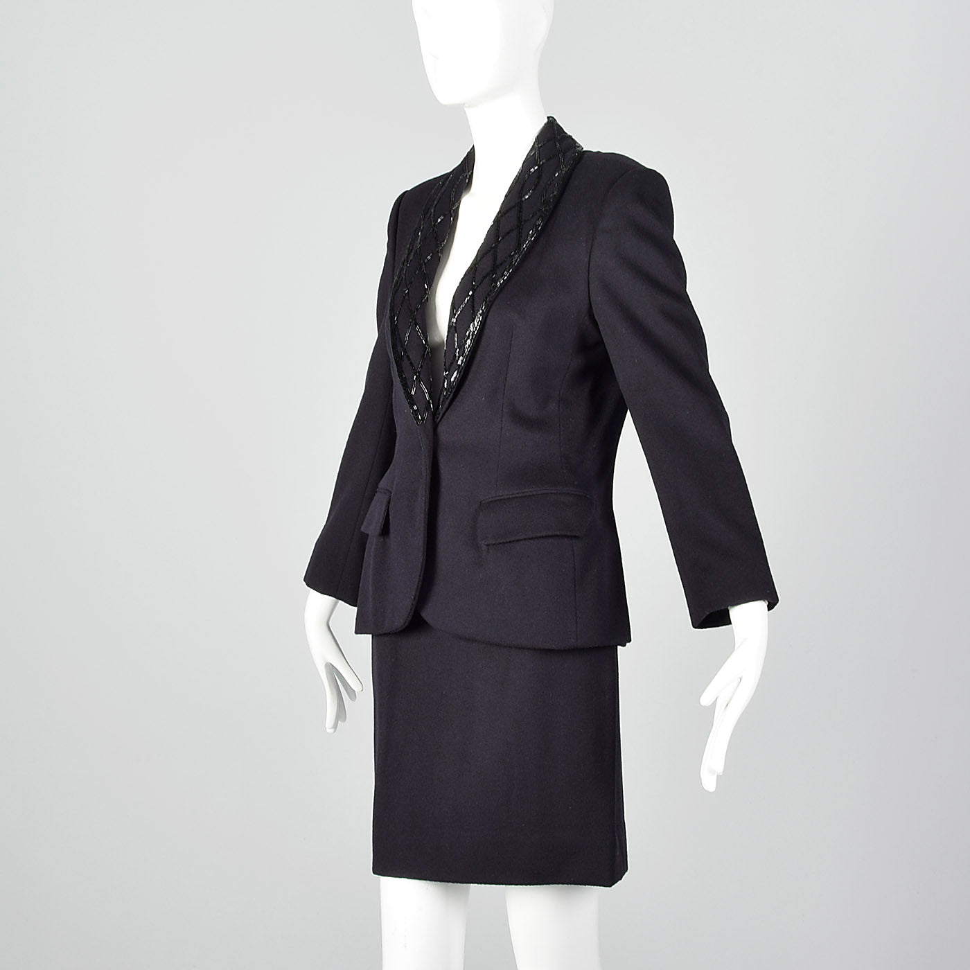 1970s Calvin Klein Dark Navy Skirt Suit with Beaded Lapels