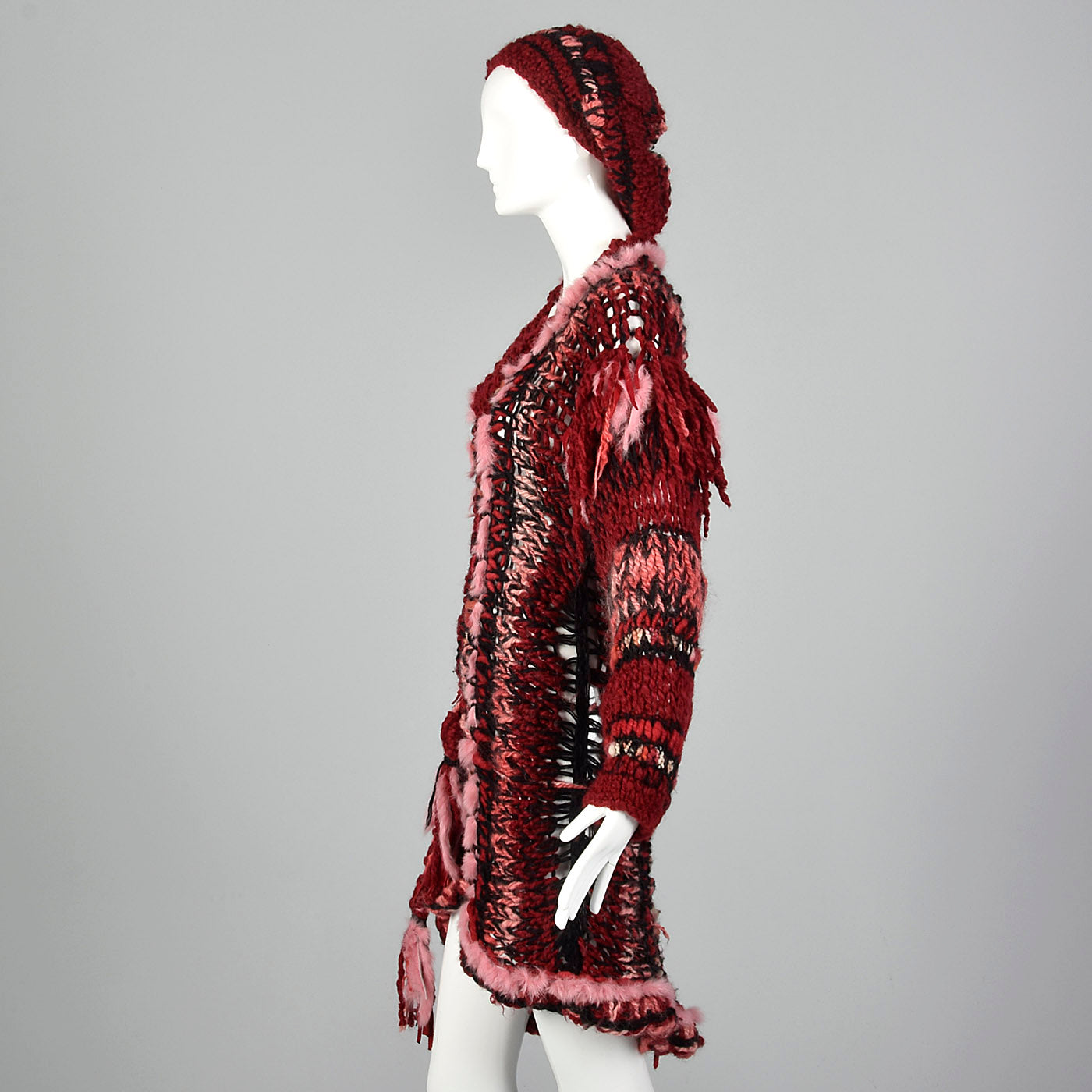 1980s Unique Knit Dress with Matching Beret