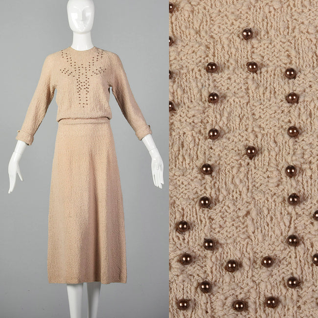 090f294ca5 Gotham 1950s Beige Nightgown with Ruffle Bust.  250.00. 1940s Taupe Knit  Dress with Beaded Bust