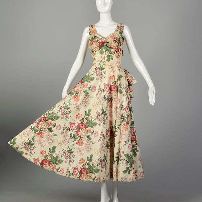 Medium 1940s Sleeveless Floral Spring Dress Ruched Bust