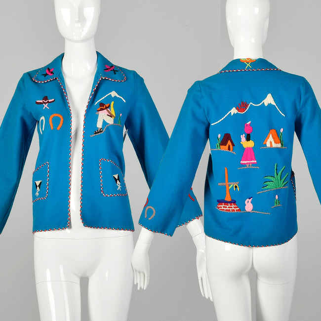 XXS 1950s Jacket Teal Blue Mexican Souvenir Tourist Wool Embroidery Horse Shoe Sombrero Village Scene