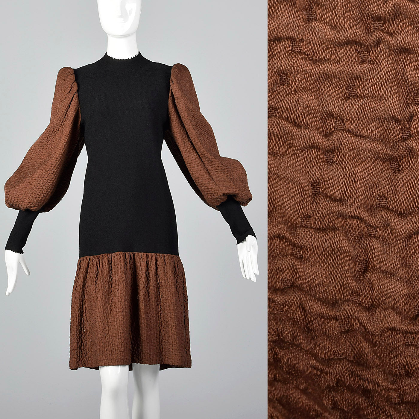 1980s Adolfo Black Knit Dress with Bishop Sleeves