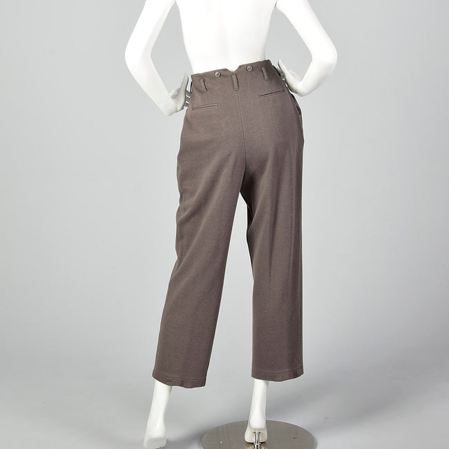 1980s Norma Kamali Gray Knit Pants with Suspender Buttons