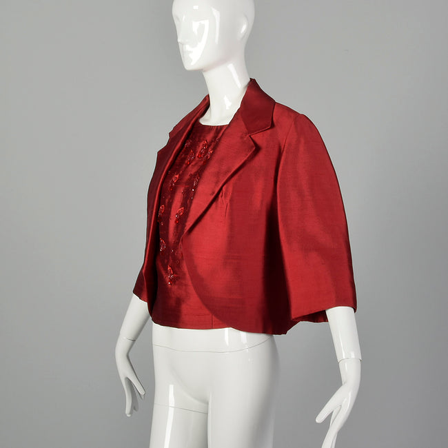 Large 1960s Red Top and Jacket Set