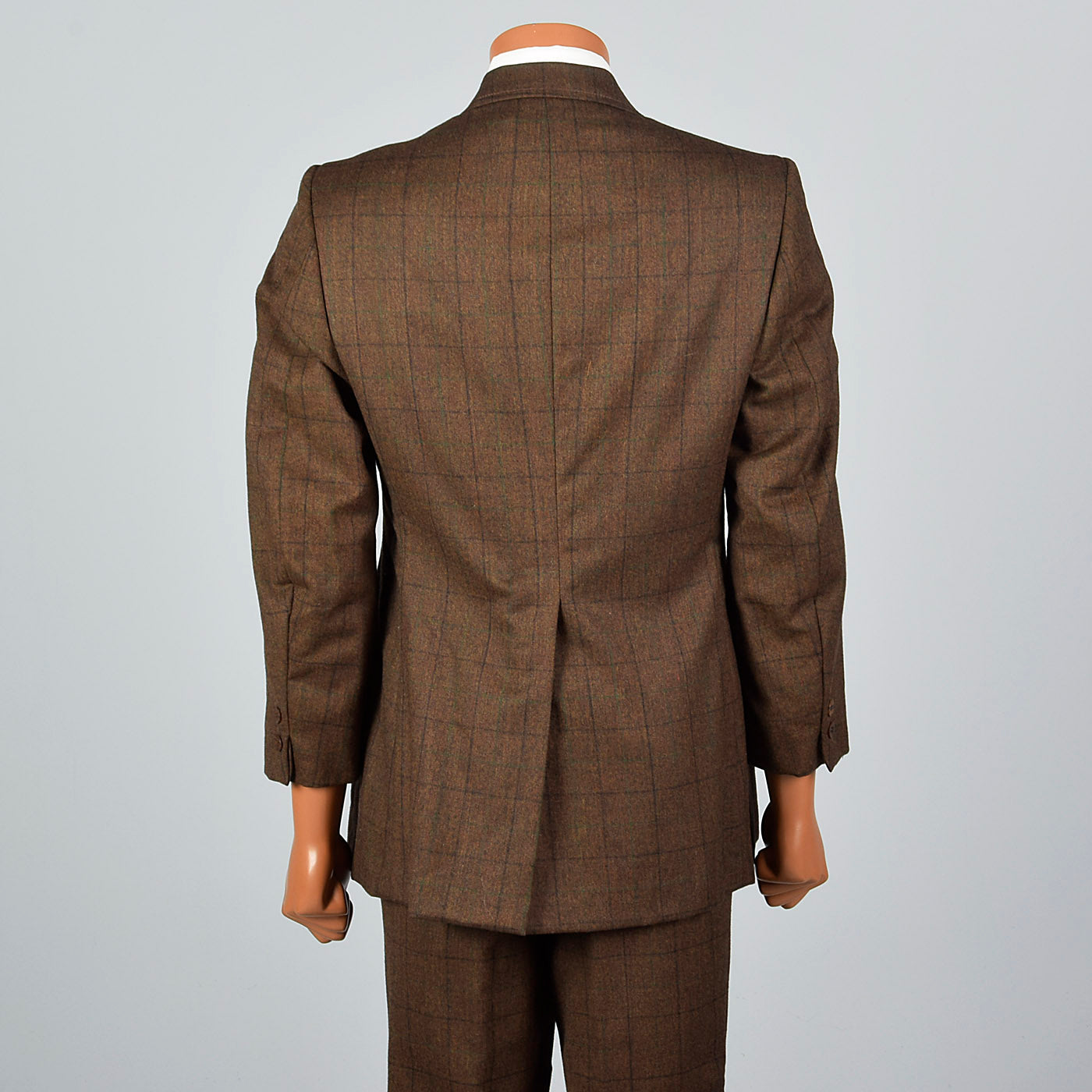 1970s Mens Brown Wool Windowpane Suit