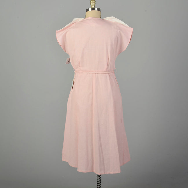 XXL 1950s Pink Day Dress Short Sleeve Deadstock Summer Casual