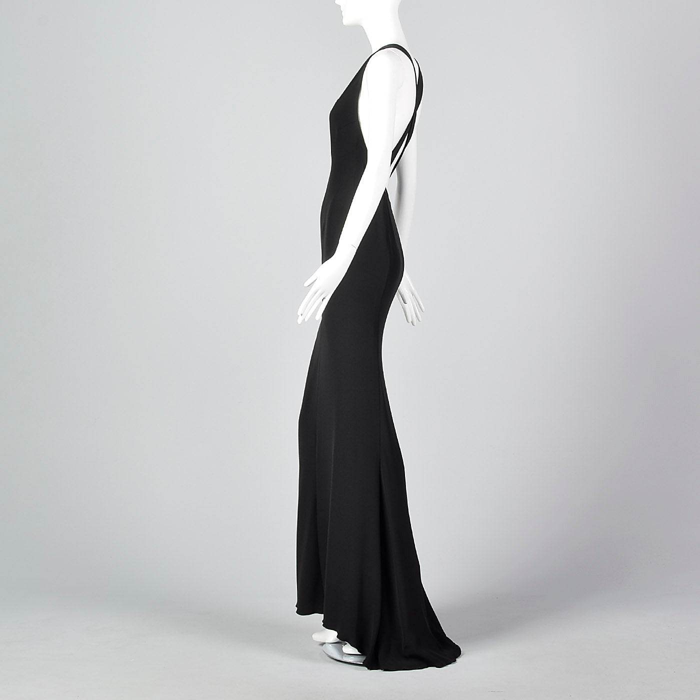 1990s Valentino Boutique Backless Long Black Evening Gown