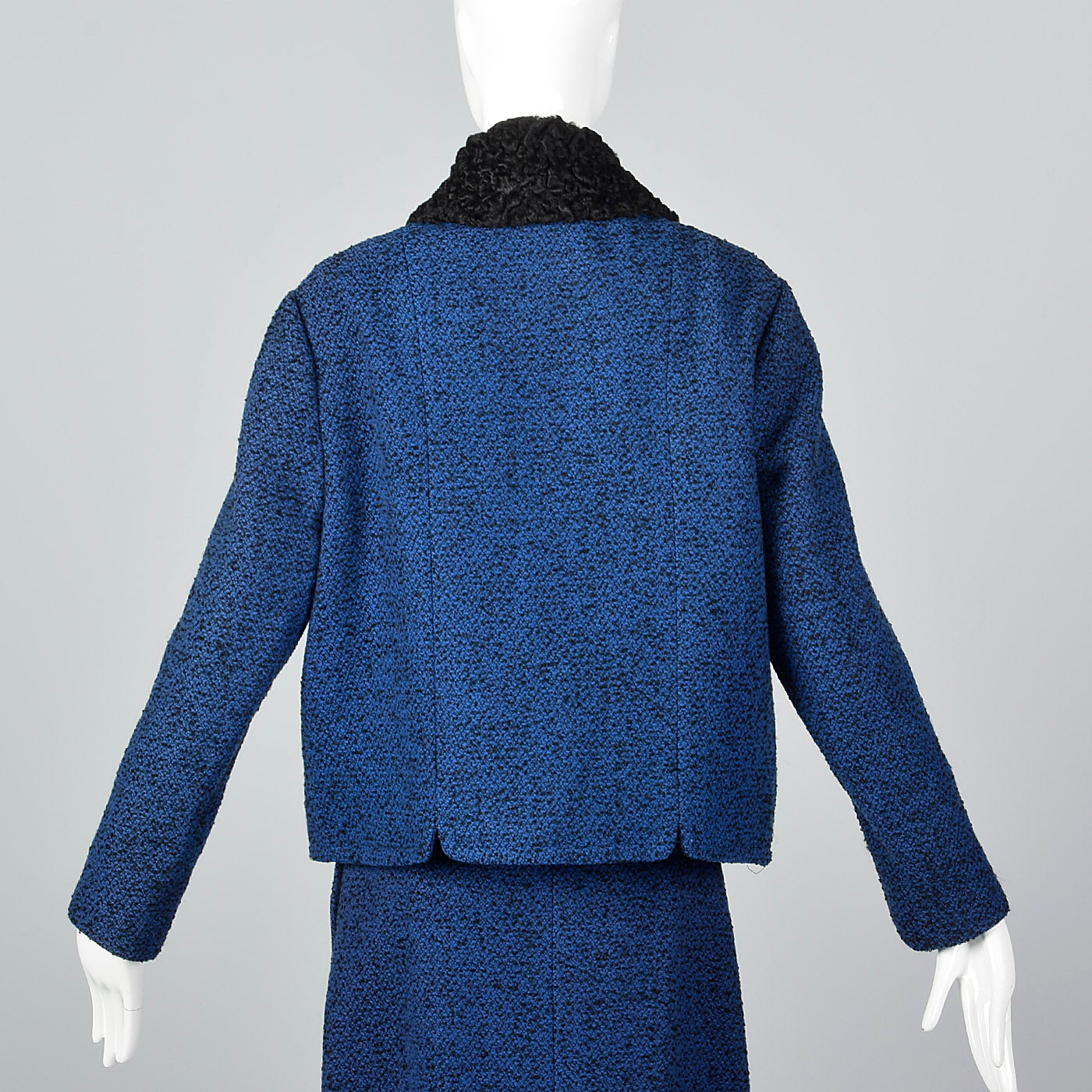1960s Blue Tweed Skirt Suit with Persian Lamb Trim