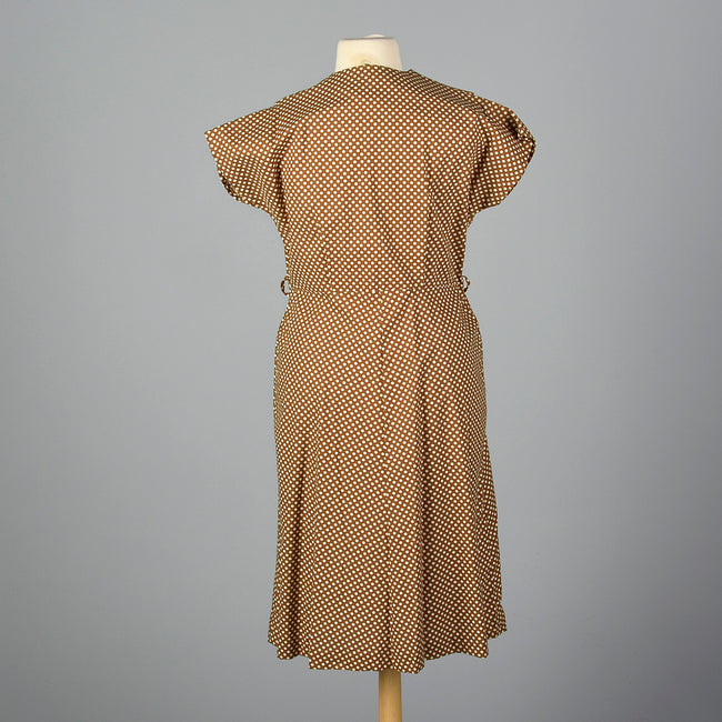 1950s Brown Polka Dot Day Dress