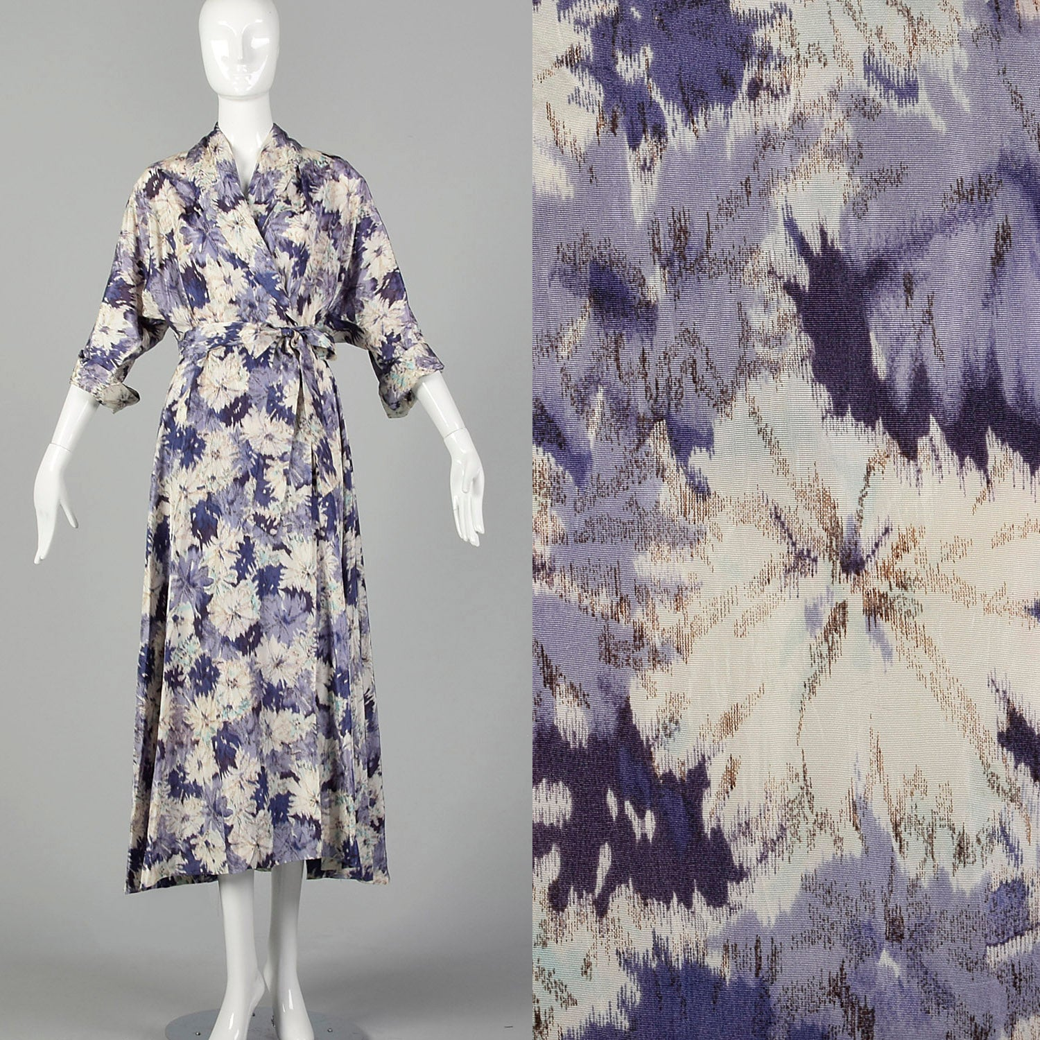 Large-XXL 1950s Purple Floral Robe