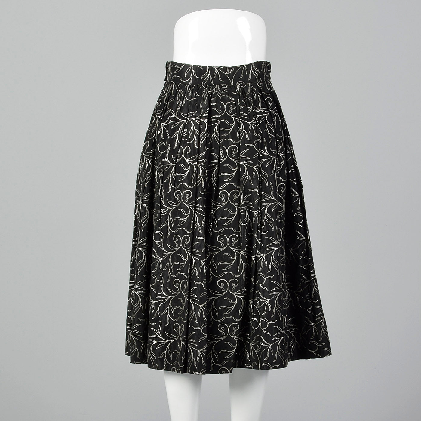 1950s Black Taffeta Skirt with Metallic Silver Embroidery