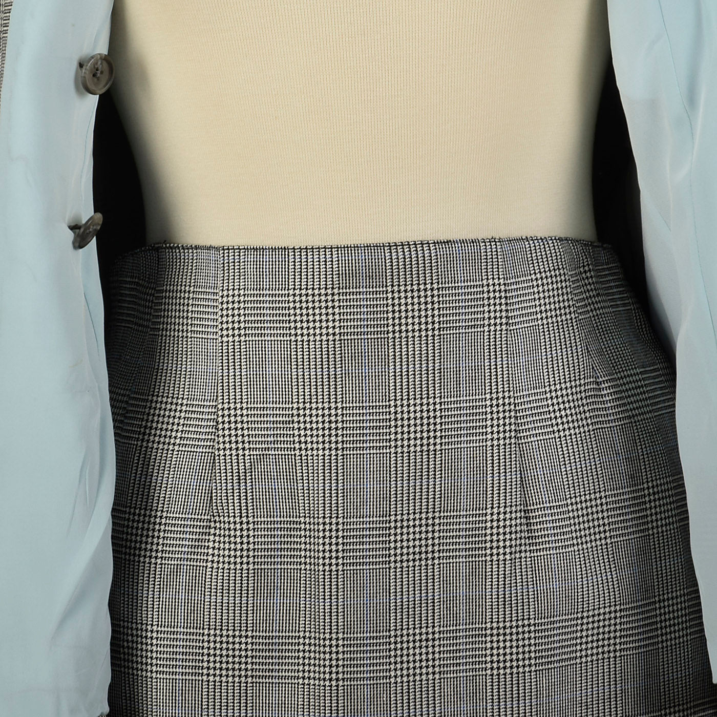 1990s Richard Tyler Black & White Plaid Skirt Suit