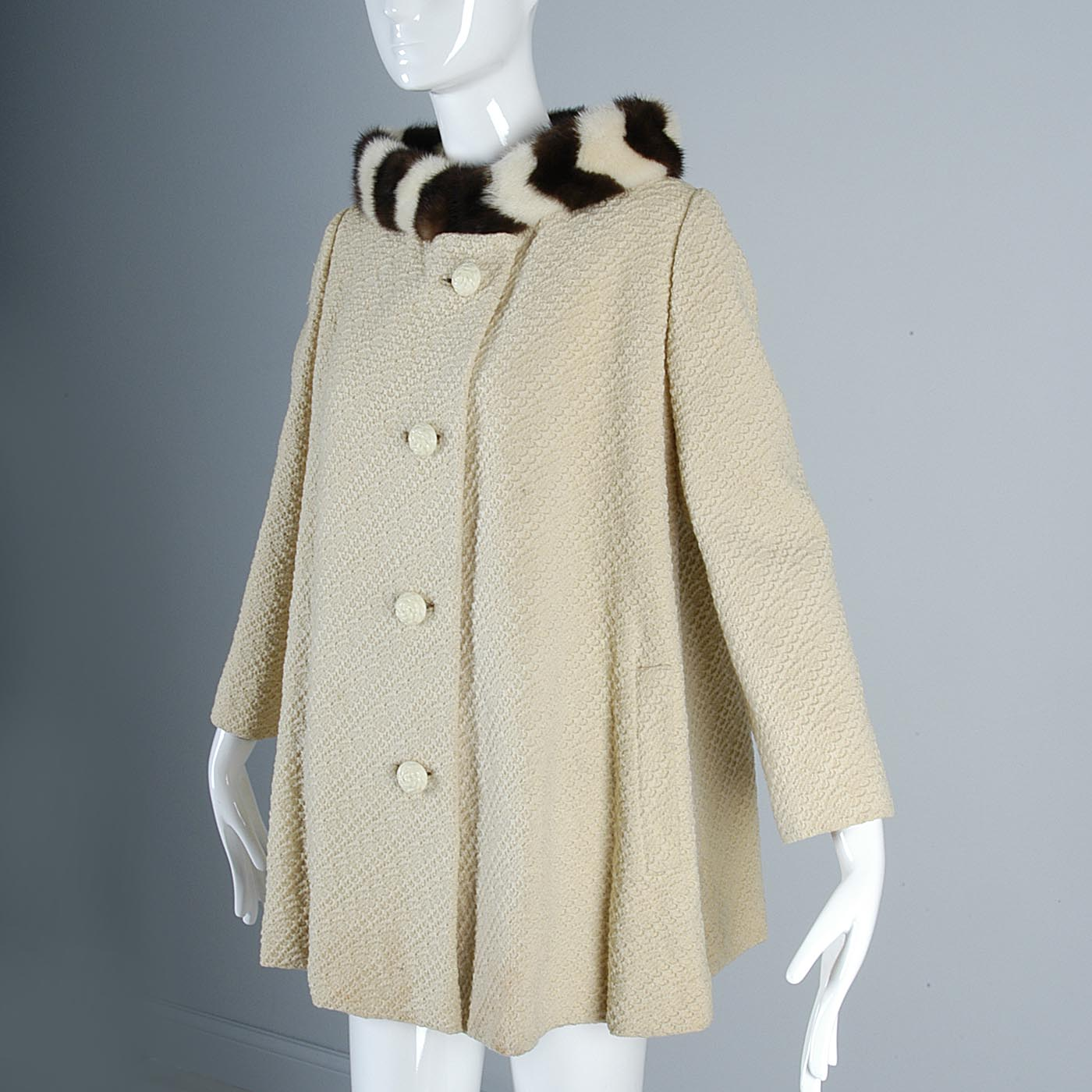 1950s Swing Jacket with Stripe Mink Collar