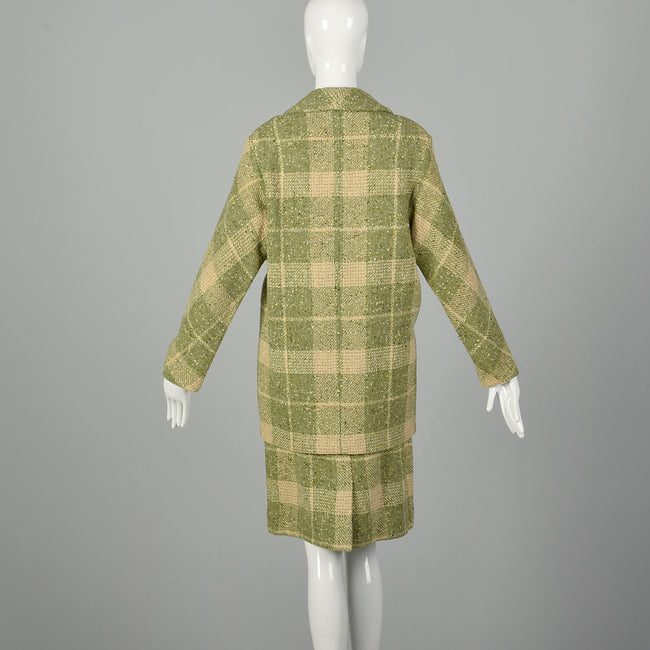 Small 1960s Two Piece Set Green Beige Plaid Fleck Tweed  Separates Ensemble Skirt Jacket