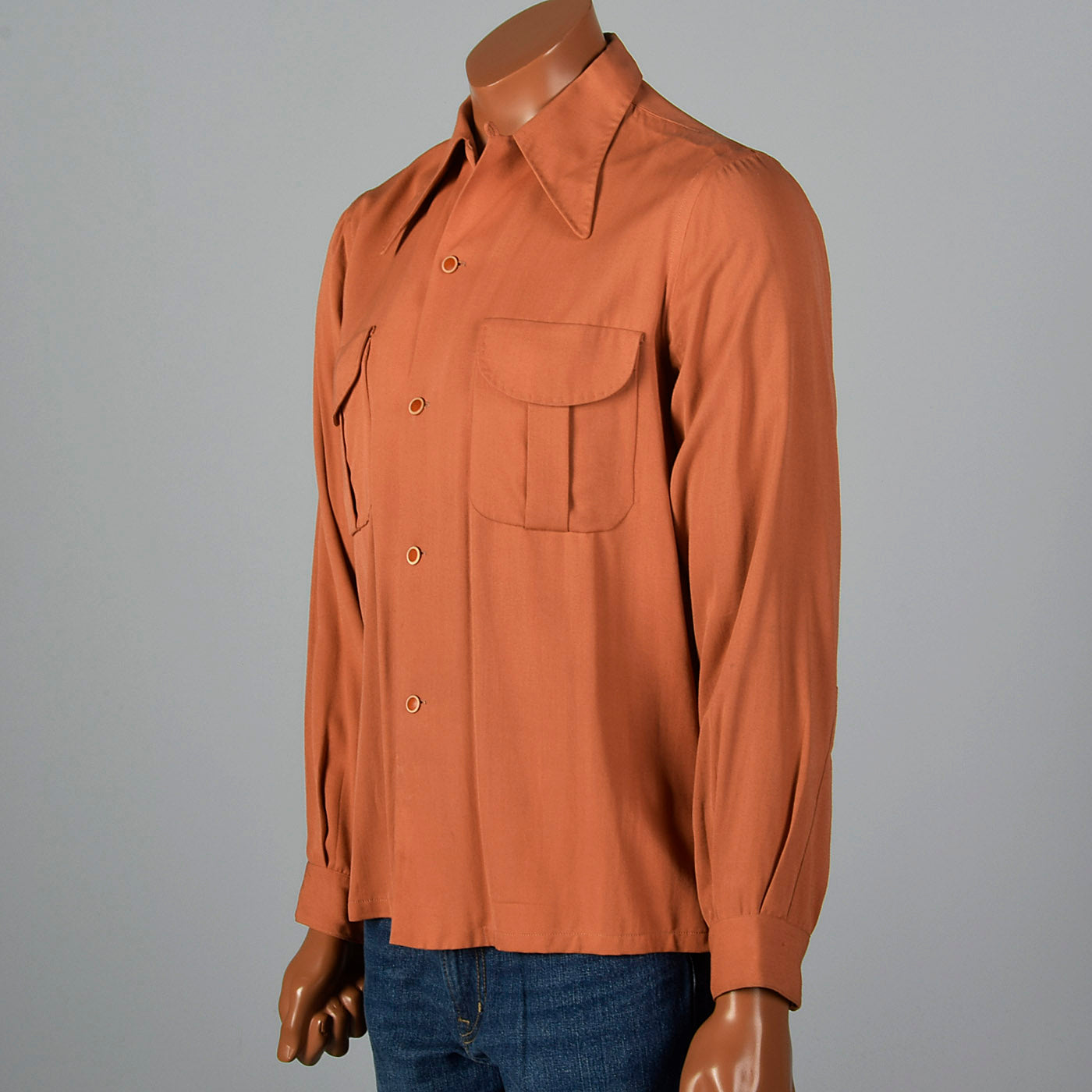 1940s Rust Shirt with Spearpoint Collar