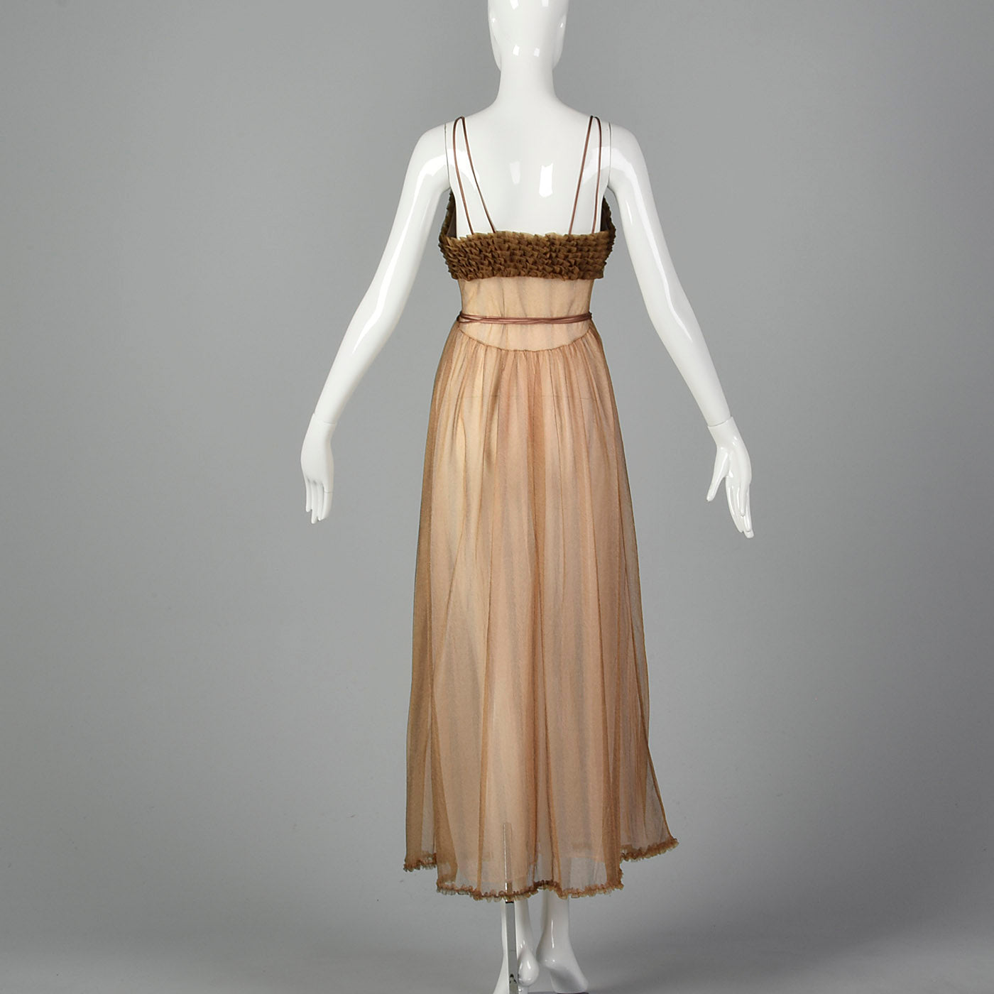1950s Beige Nightgown with Ruffle Bust