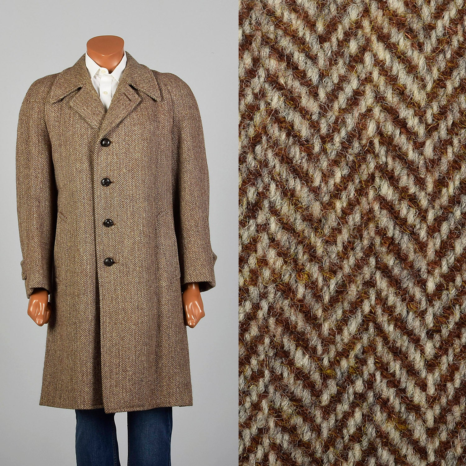 41 Medium 1950s Mens Brown Wool Tweed Coat