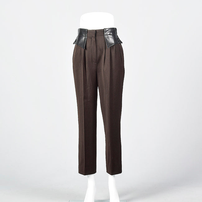 1980 Brown and Black Herringbone Pants with Leather Trim