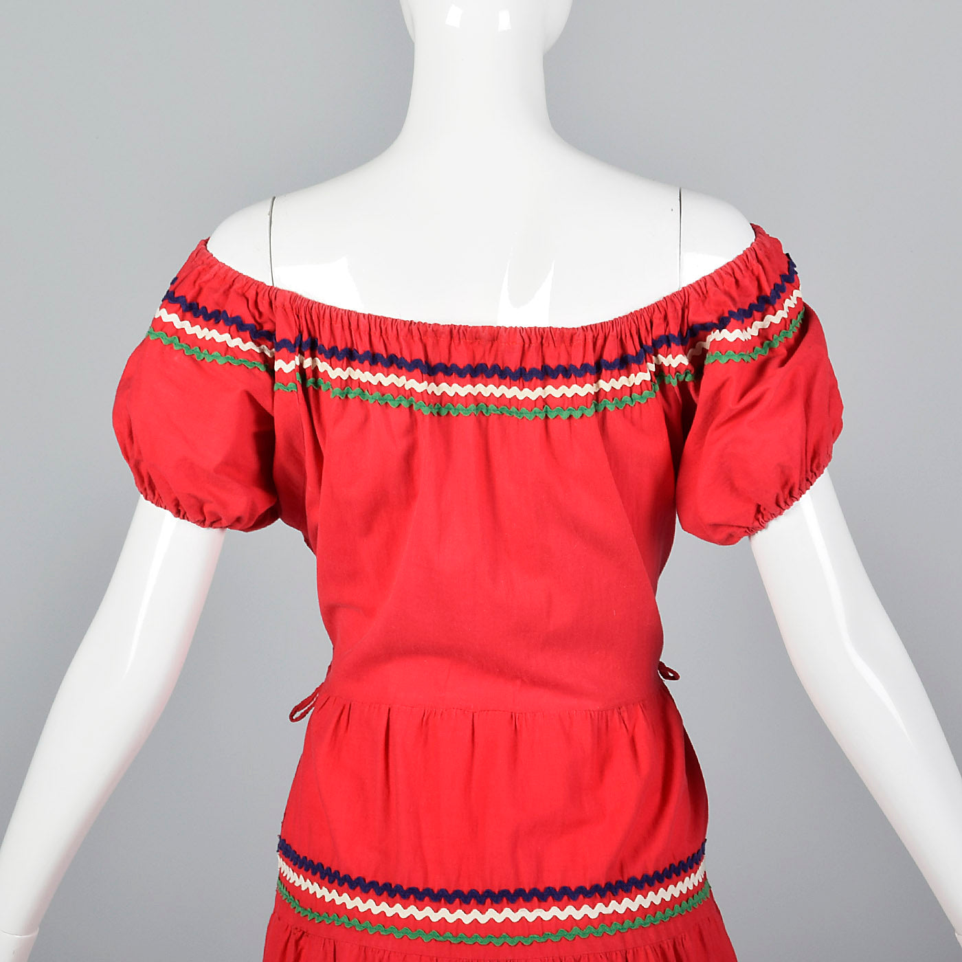 1950s Bohemian Off Shoulder Dress in Red Cotton
