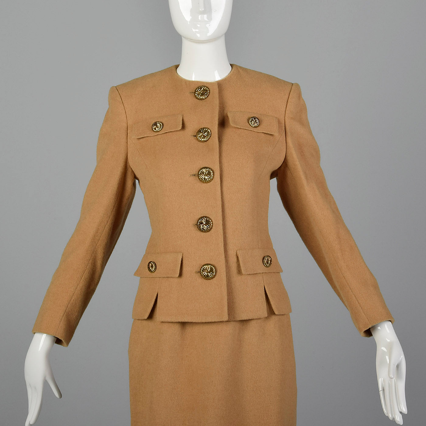 1970s Camel Color Skirt Suit in a Classic Silhouette