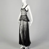 Small 1930s Black Lace Peplum Dress Sheer Sleeveless Gown
