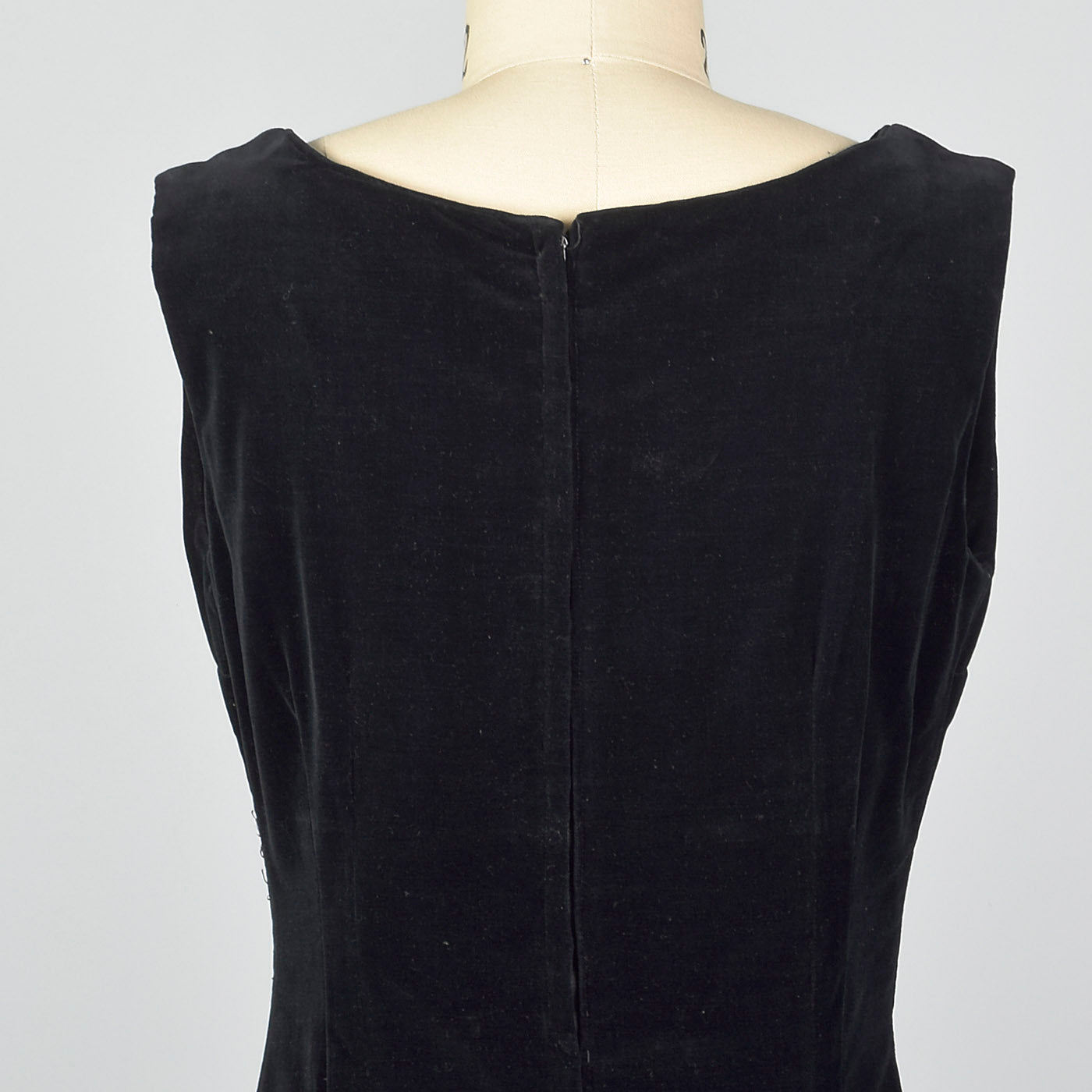 1950s Black Velvet Jumper Dress