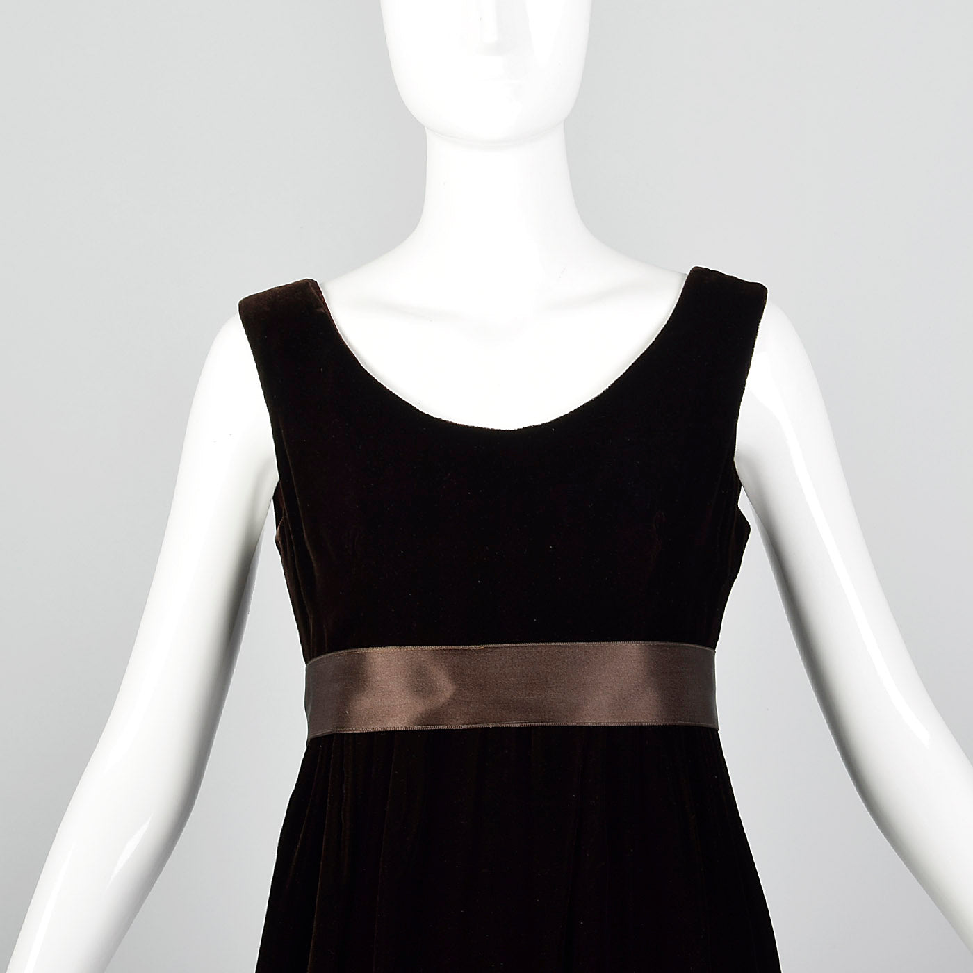 1960s Brown Velvet Dress with Satin Ribbon Waist and Hem