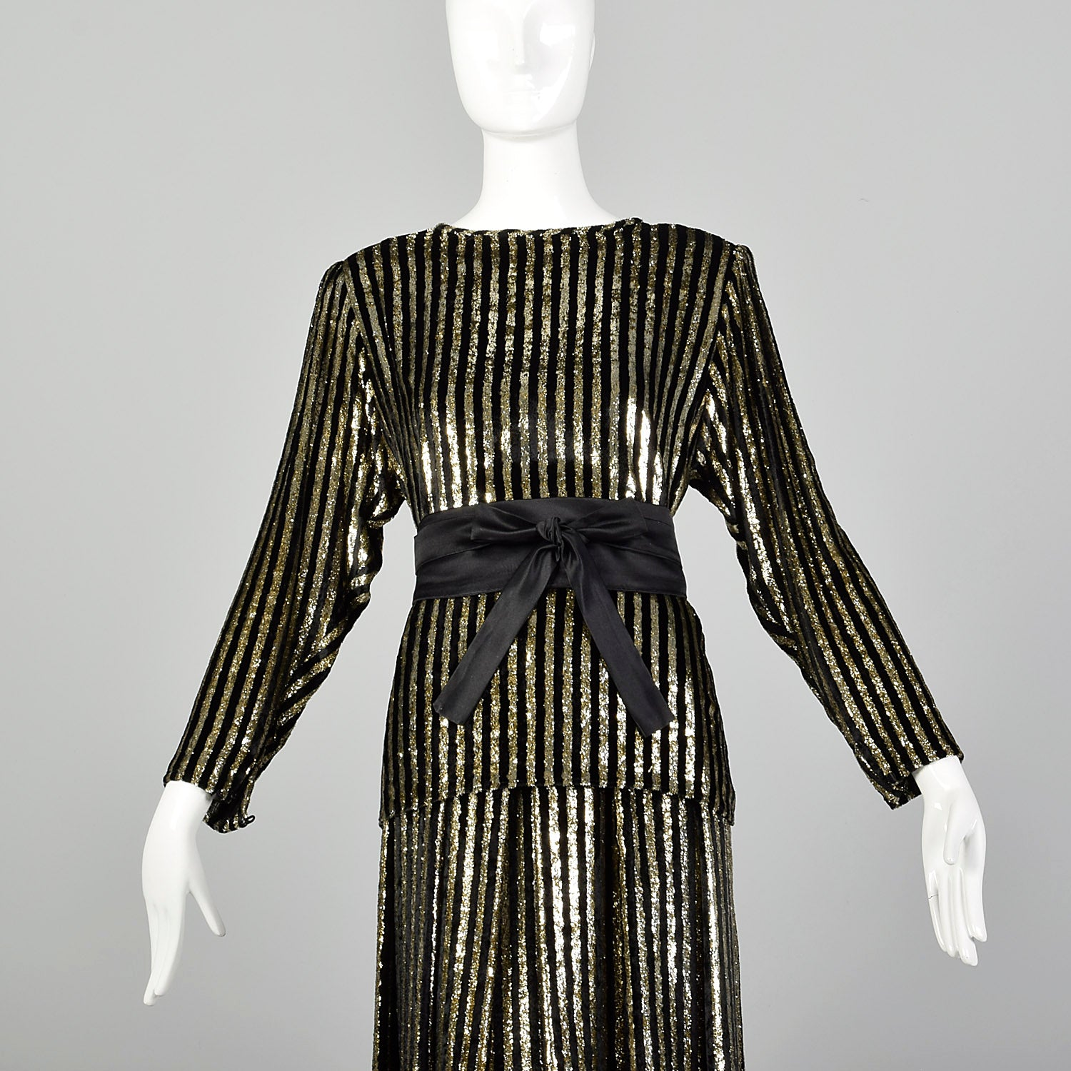 1980s Caroline Charles Gold and Black Skirt Set