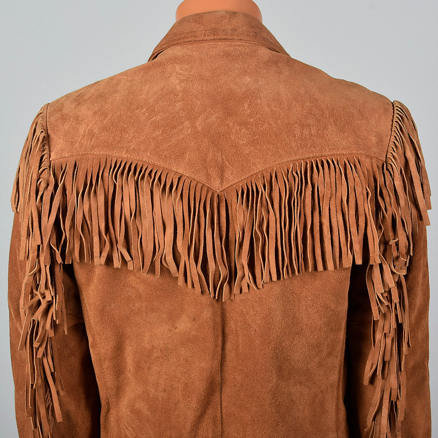 1970s Mens Brown Leather Bohemian Jacket with Fringe Trim