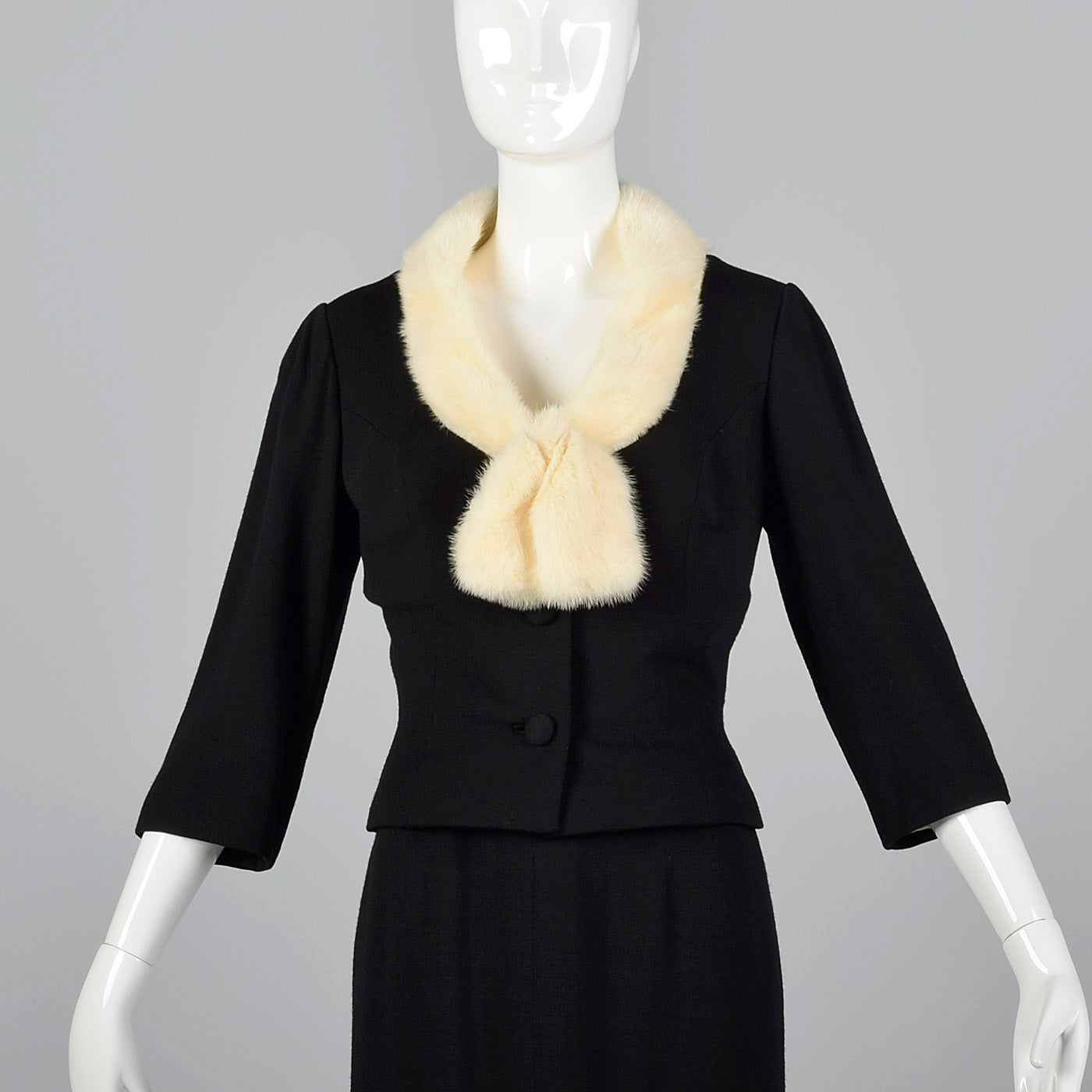 1950s Black Dress with Ermine Fur Collar and Matching Jacket